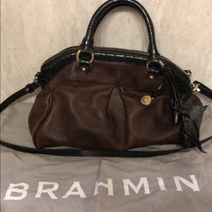 Brahmin satchel with strap and duster